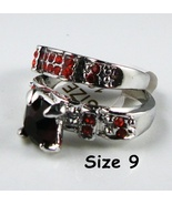 Red Garnet Wedding Ring 2pc Set Free Shipping - $25.00
