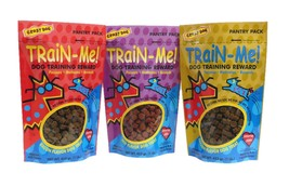 Dog Training Treat Sampler 3 Pack Train Me Healthy Bacon Chicken Beef 16 oz - $59.29