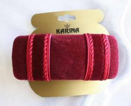 Karina Elegant Cranberry Velvet Hair Clip Barrette 1990s vintage - $12.95
