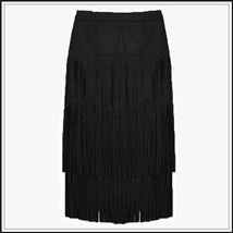 Western Double layer Long Fringe Tassels Black Faux Suede Leather Midi Skirt