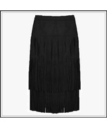 Western Double layer Long Fringe Tassels Black Faux Suede Leather Midi S... - $65.95