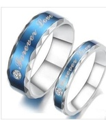 Couples Matching Titanium Steel Blue Wedding Bands Free Shipping - $60.00