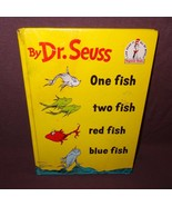 Dr. Seuss One Fish Two Fish Hardcover Book 1960 Childrens Beginner Story - $9.89