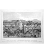 GERMANY View in Darmstadt - 1860 Original Engra... - $23.76