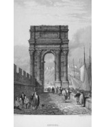 ITALY Roman Arch of Ancona - 1833 Antique Print Engraving - $13.86