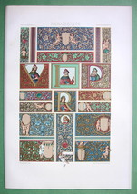 MANUSCRIPT Decorations by Attavante Florence - COLOR Litho Print by Racinet - $33.66