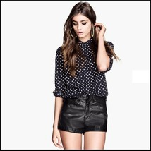 "Black Faux PU Leaher ""Wet Look"" Open Fly High Waist Pleather Shorts"