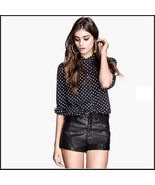 "Black Faux PU Leaher ""Wet Look"" Open Fly High Waist Pleather Shorts - $49.95"