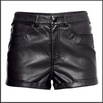 "Black Faux PU Leaher ""Wet Look"" Open Fly High Waist Pleather Shorts image 2"