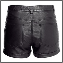 "Black Faux PU Leaher ""Wet Look"" Open Fly High Waist Pleather Shorts image 3"