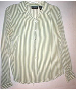 Womens Liz Claiborne Collection 8 Green Off White Stripe Blouse Top Work... - $16.00