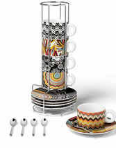 New Missoni for Target Stoneware Stacking Espresso Set with Spoons 16 pc... - $74.24