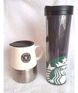 Two Starbucks Travel Mugs Ceramic Metal Plastic EST 1971 Logon 2004 2011 - $18.95
