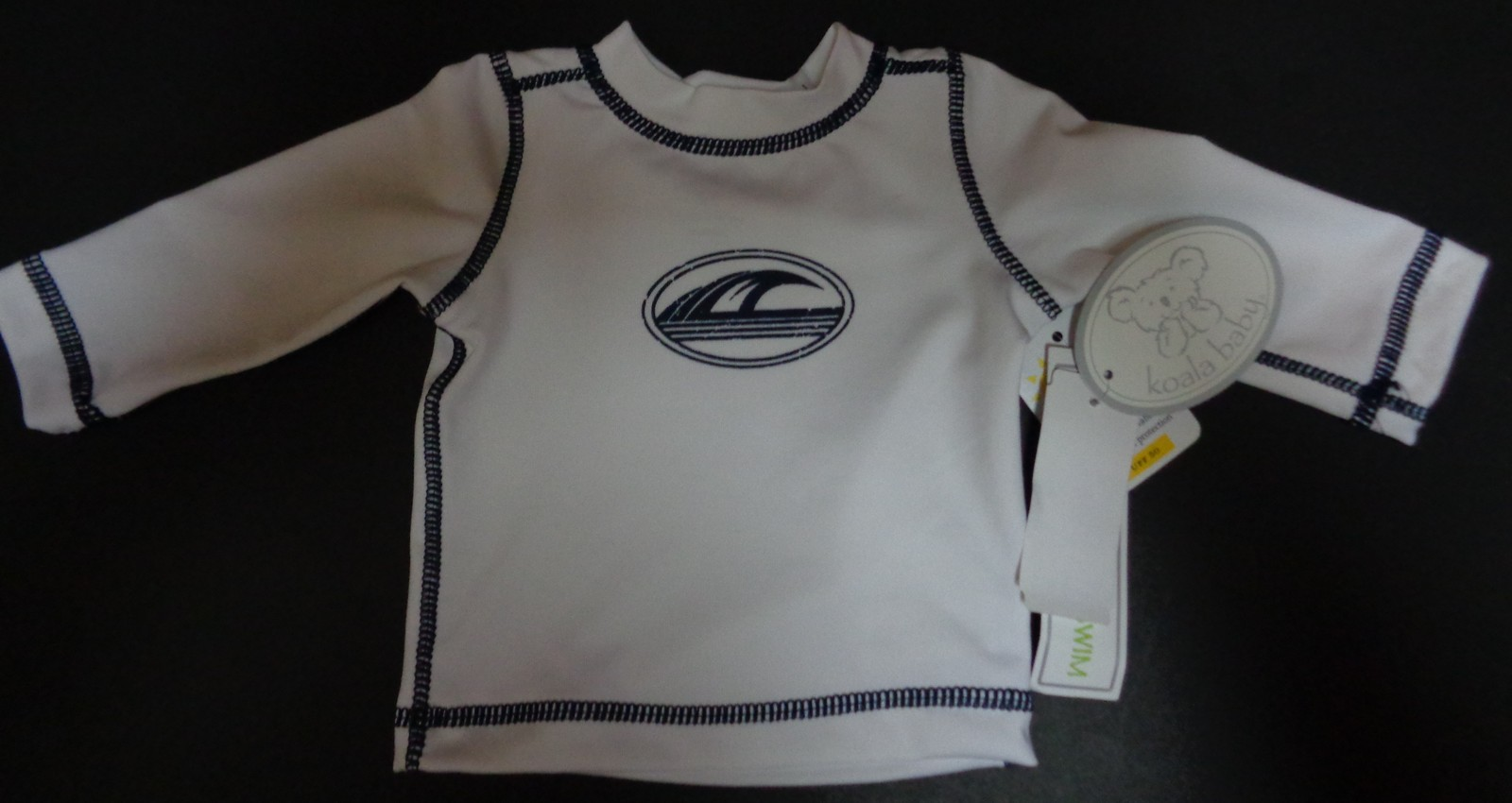 Koala Baby Boys Newborn Swim Shirt NWT White Long Sleeves UV Protection UPF 50