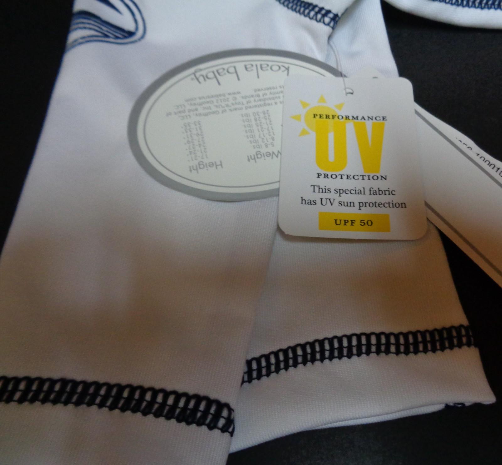 Koala Baby Boys Newborn Swim Shirt NWT White Long Sleeves UV Protection UPF 50