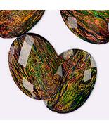 Resin Black Opal Cabochon, 40x30 mm, 30x40 cab opalescent rainbow plastic - $1.00