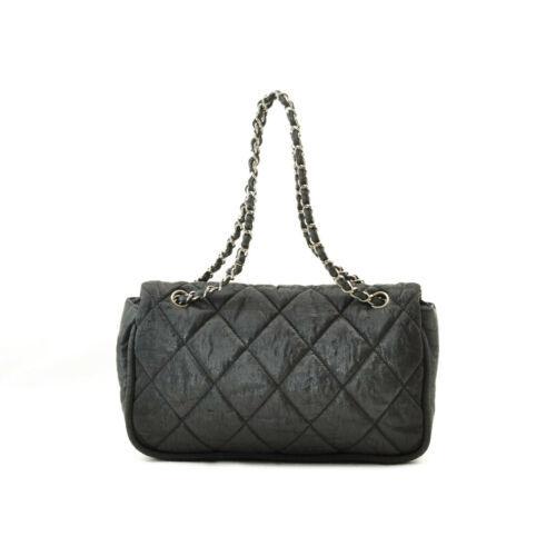 CHANEL Nylon Matelasse Chain Shoulder Bag Black Auth 9576 **Powder image 3