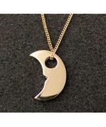 Metallic Moon Shape Alloying Pendant Long Necklace - $6.99