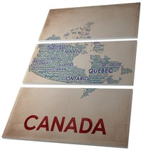 "Pingo World 0126Q97HMZA ""Canada City Map"" Wrapped Triptych Canvas Wall Art, 48""  - $128.65"
