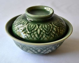 """CERAMIC Green BOWL with LID Asian Leaf Pattern Imported 5.1"""" Diam 2"""" Hei... - $24.30"""