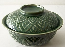 """CERAMIC Green BOWL with LID Asian Leaf Pattern Imported 7"""" Diam 2.5"""" Hei... - $32.71"""