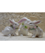 Vintage White Rabbit Bunny Figurines // Three Porcelain Rabbit Figurines - $13.00