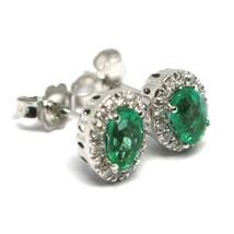 White Gold Earrings 750 18K, Flower, Emeralds 0.81 Ovals, Diamonds, Italy Made image 2