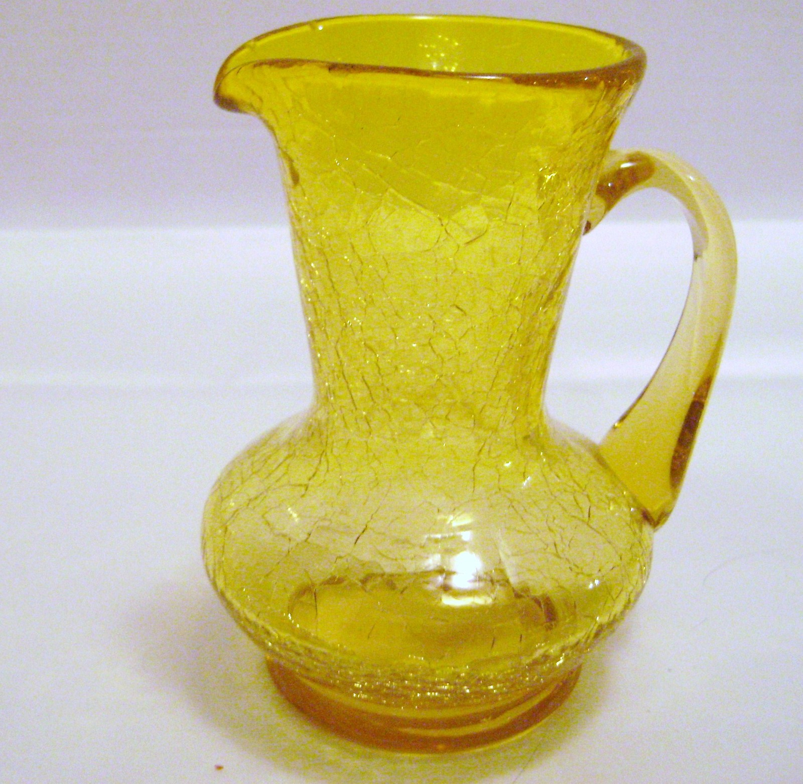 Kanawha Amber Crackle Glass Pitcher - $12.00