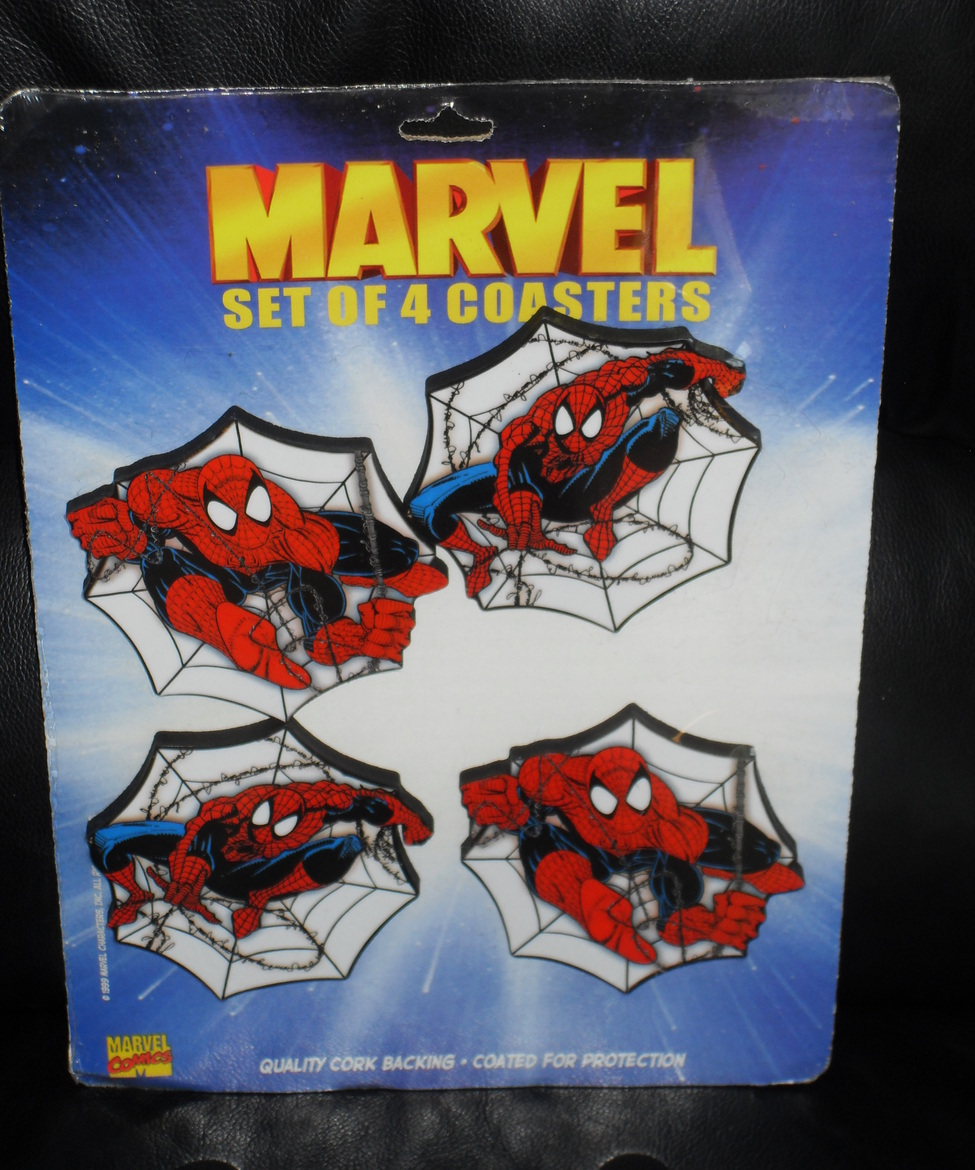 1999 Marvel Spider Man Set Of 4 Coasters New In The Package