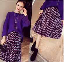 Retro Geometric Patterns High Waist Long Look Slim Pleated Women Skirt D... - $15.50