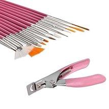 Comb 15pc Nail Art Design Dotting Brush Painting Pen Tool Set Pink Stick... - €4,26 EUR