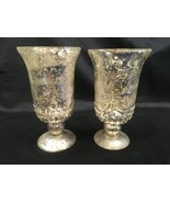 "2 Mercury Glass Pedestal Cup Candle Holder 6"" Antique Look Wedding Chris... - $19.99"