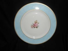 Aynsley Tea Trio Pale Blue Pink Cabbage Rose 3 Piece Set Vintage China image 4