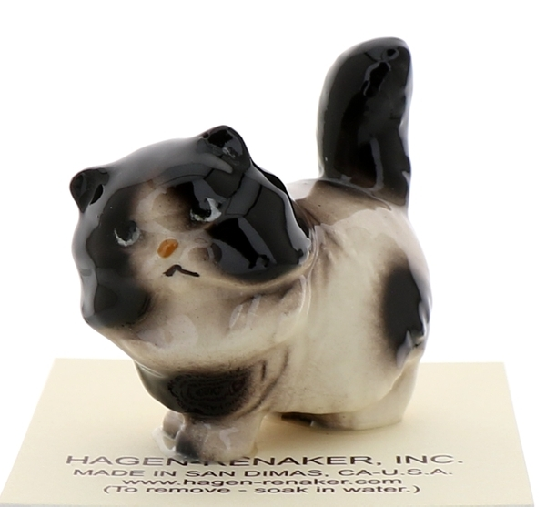 Hagen-Renaker Miniature Ceramic Cat Figurine Fat Black and White Persian