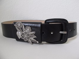 Vintage Betsey Johnson Wide Black Belt M Ornate Silver Rhinestone Embell... - $14.01
