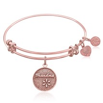 Expandable Bangle in Pink Tone Brass with Grand... - $25.00