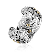 18K Yellow Gold and Sterling Silver Thick Cuff ... - $765.39