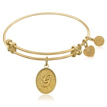 Expandable Bangle in Yellow Tone Brass with Ini... - $25.00