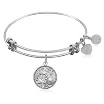 Expandable Bangle in White Tone Brass with The Sea Symbol - $25.00