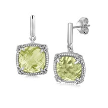 Sterling Silver Green Amethyst and White Sapphires Fleur De Lis Drop Ear... - $81.80
