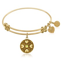 Expandable Bangle in Yellow Tone Brass with Per... - $27.50