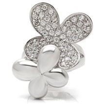 Silver Tone Two Flower Cubic Zirconia Cocktail Fashion Ring Size 6, 7 - $22.04