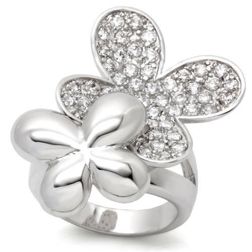 SILVER TONE TWO FLOWER CUBIC ZIRCONIA COCKTAIL FASHION RING SIZE 6, 7