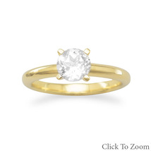 White Topaz Solitaire Gold Plated Ring - €66,61 EUR