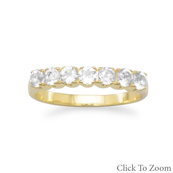 83644 14 karat gold plated white topaz ring