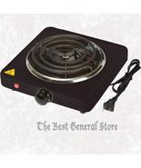 Black Finish Stainless Steel Single Burner Hotplate with Adjustable Temp... - $26.98