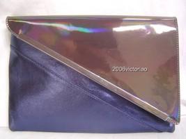 New BEBE Metallic Blue Gun Envelope Clutch 225766 - $53.10