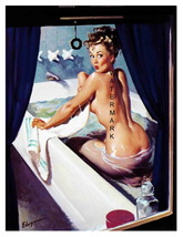 """Don't Peek"" 22 x 17 inch Vintage Bathing Girl Giclee Canvas Pin-up - $59.00"