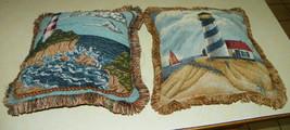 Pair of Lighthouse Print Throw Pillows / Decorative Pillows - $59.95