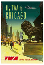 TWA Airlines Vintage Chicago 22 x 17 inch Travel Advertising Canvas Post... - $59.00